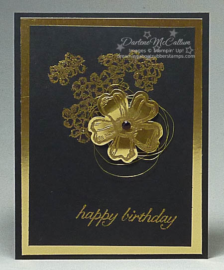 Birthday Blossoms in Black and Gold Card