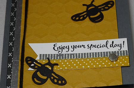 Detailed Dragonfly Bee Day Card with Urban Embellishments