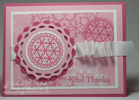 Delicate Doilies stamp set with Flirtatious paper