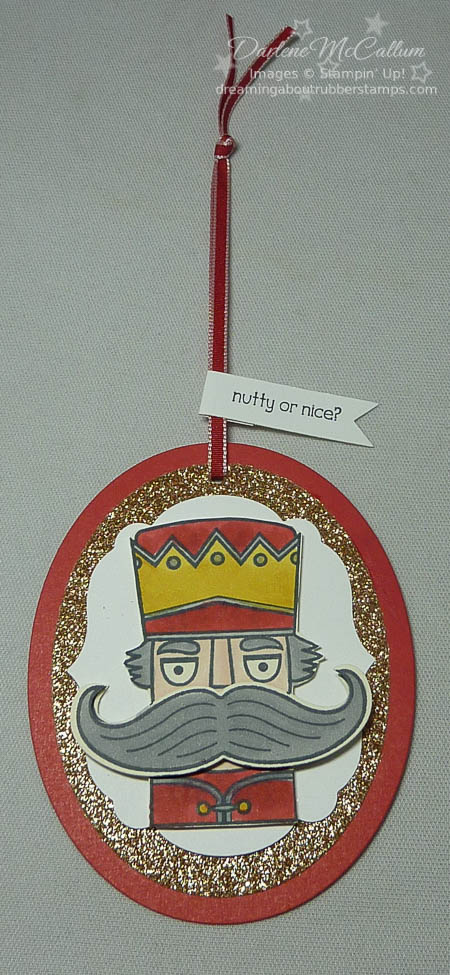 Santa Stache Spinner Tag with Nutcracker