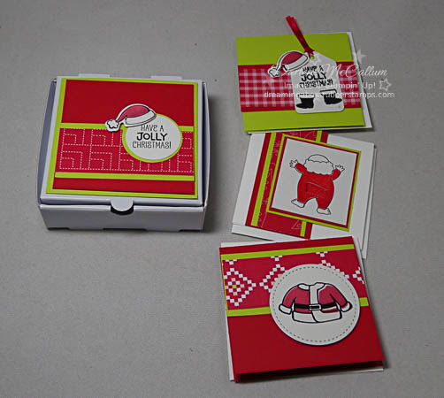 Santa's Suit Mini Pizza Box and Cards