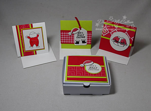 "Santa's Suit Pizza Box and 3"" x 3"" Cards"