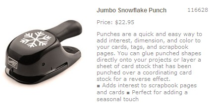 Stampin Up Jumbo Snowflake Punch