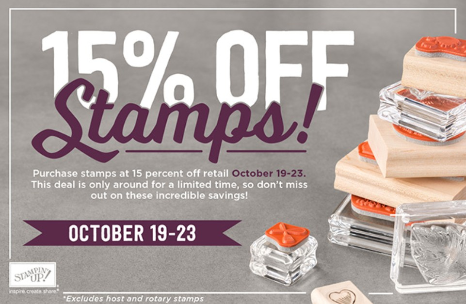 Save 15% on all Stampin' Up! stamps