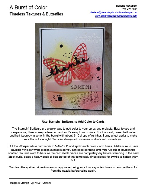 Timeless Texture Butterfly Card Instructions PDF