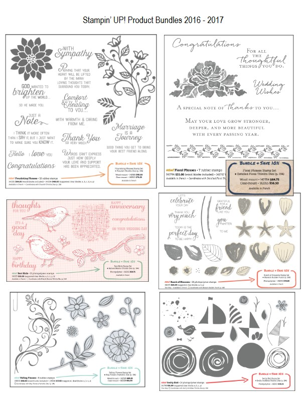 Bundles from the Stampin Up Canada catalogue