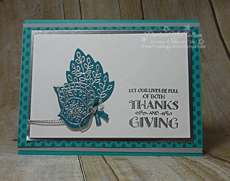 Stampin Up Lighthearted Leaves Embossed in Silver