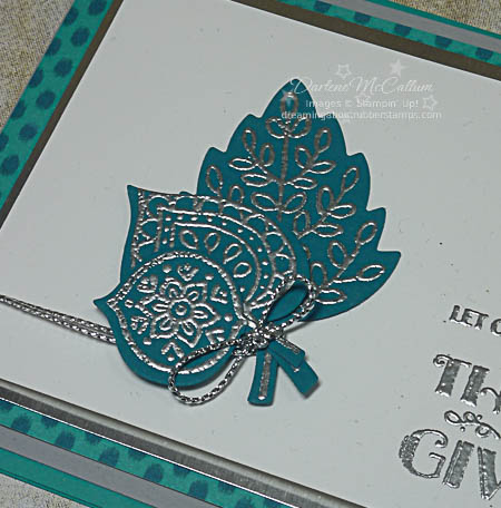 Stampin Up Lighthearted Leaves Silver Embossed Close